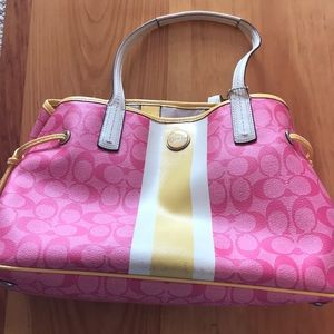 Pink and yellow coach bag perfect for summer!